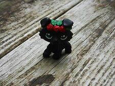 Littlest Pet Shop Custom OOAK LPS Collie Puppy Dog Black w/Red flowers