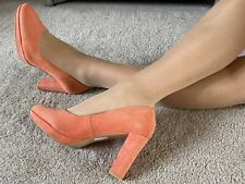 Clarks Coral Pink Paded Leather Suede Court Size 8 EUR 42 Worn Once In Box