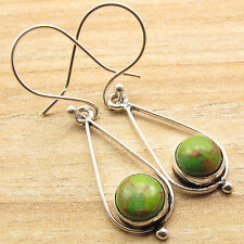 925 Silver Overlay GREEN COPPER TURQUOISE Cool Girls Fashion Earrings