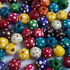 50pcs Assorted Flower Dot Pattern Wooden Round Craft Beads 10x9mm - B14228