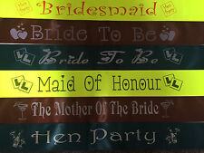 Personalised Hen Party Night Birthday Sash NEON YELLOW, CHOCOLATE & FOREST GREEN