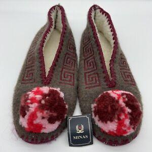 NEW Minas Greek Woolen Grey Purple Pink Slippers  Leather Sole US 12 EU 43 UK 9