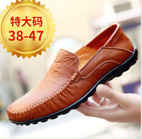 Mens fashion shoes suede leather moccasin slippers casual loafers Plus size