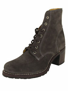 $398 Frye Womens Sabrina 6G Lace Up Suede Round Toe Boots, Charcoal, US 7