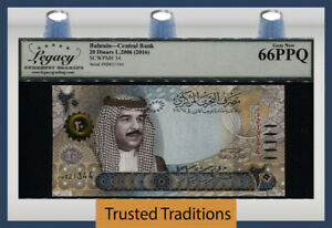 TT PK 34 2006 (2016) BAHRAIN CENTRAL BANK 20 DINARS KING HAMAD LCG 66 PPQ GEM!