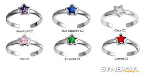 .925 Sterling Silver Adjustable Star CZ Summer Fashion Toe Ring NEW