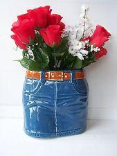 LG ceramic blue denim skirt novelty vase planter dressing table ornament new