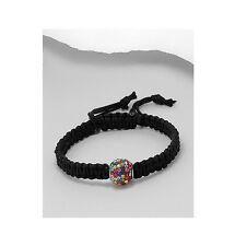 Black Macrame Rainbow CZ 12MM Bead Adjustable Shamballa Bracelet