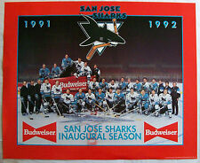 San Jose Sharks Hockey 1991 1992 First Season 22x18 Poster NHL Budweiser Beer Ad