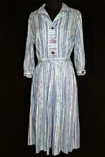 RARE VINTAGE DEADSTOCK 1950'S KAY WINDSOR BLUE & WHITE STRIPE COTTON DRESS SZ 8+
