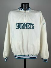 Men's Vintage Throwback Reebok Charlotte Hornets White Warm Up 1/4 Zip Jacket M