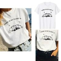 There is no Planet B White T-Shirt Women Short Sleeve Summer Tee Tops Fashion