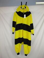 Bumble Bee Unisex Adult Halloween Costume Yellow Black Fleece Hooded Button HA4d