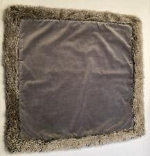 Pottery Barn Grey Velvet Pillow Cover Faux Fur Trim