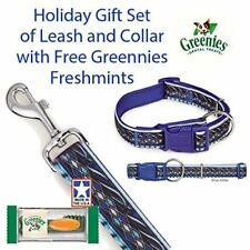 "Casual Canine Blue Aztec Small Dog 4 FT. Leash/ 6-10""Collar Set With Free Green"
