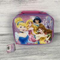 Disney Princess Cinderella Sleeping Beauty Belle Insulated Zip Lunchbox