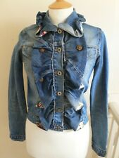 Blue Denim Ruffle Front Jacket by Periscope Size Small - RARE