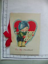 """Vintage Valentine'S Day Card; United States; Opening Card W Ribbon; """"To My 1944"""