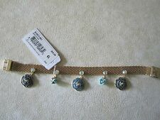 NWT Adorable Betsey Johnson Skulls & Roses Mesh Gold Tone Charm Bracelet- $65