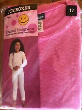 NIP GIRL'S JOE BOXER PINK 2 PIECE THERMAL UNDERWEAR SET Size 10