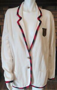 Lauren Ralph Lauren Ivory Knit Crested Blazer Blk/Red Trims NWT $235 Plus Sz 1X