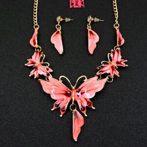 Set Pendant Enamel Jewelry Betsey Johnson butterfly Earring Necklace