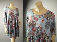 Japanese Asian Floral Medallion Print Blue Flare Blouse 280 mv Tunic 1XL 2XL 3XL