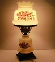 Vintage White Milk Glass Floral Hurricane Table Lamp w/ Shade