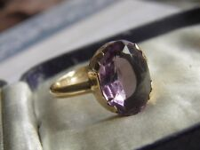 Beautiful Vintage 9ct Gold  Large Amethyst Stone Claw Set Ring