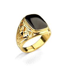 Men's Fashion 18K Black Gold Ring 18 Karats Emerald Cut Jewelry Size 10 UK T 1/2