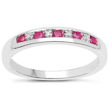 3mm wide Sterling Silver Channel set 0.45ct Ruby & Diamond Eternity Ring H to W