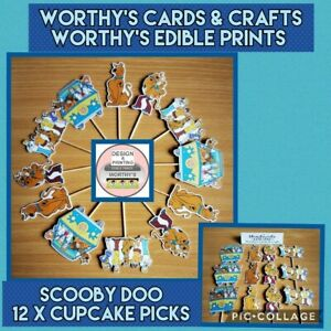 SCOOBY DOO CUPCAKE TOPPERS SET OF 12 BIRTHDAY PARTY CAKE PICKS (SINGLE SIDED)
