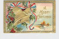 PPC POSTCARD MERRY CHRISTMAS HOLLY PATRIOTIC GOLD BELLS EMBOSSED