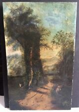 Early 1800's Large Oil on Canvas Road Man Animal - Old Estate Collection