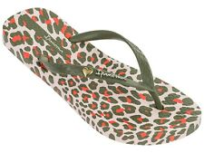 Ladies Ipanema Animal Print Flip Flops - Khaki