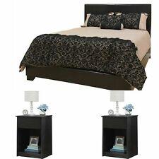 FULL SIZE BEDROOM SET Modern Design Platform Bed Headboard Nightstand Furniture