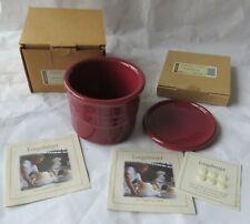 Longaberger 1 Pint Salt Crock & Coaster/Lid Paprika Pottery 30212 30222 Usa Nib