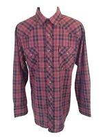 Roper Western Black Pearl Snap Button Up Long Sleeve Shirt Plaid Red Mens XL Reg