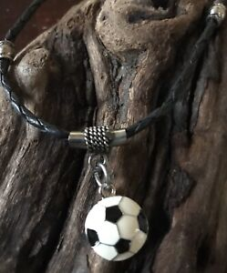 Soccer Ball Pendant on Genuine Leather Necklace