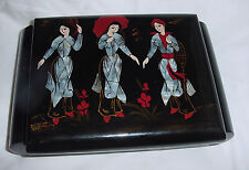ASIAN / ORIENTAL  BLACK LACQUER MOTHER  PEARL INLAY ABALONE JEWELRY BOX  vtm