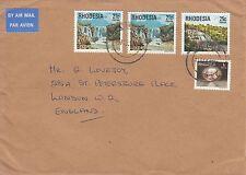 N 278 Rhodesia 1978? air cover UK;  68c rate; waterfall stamps