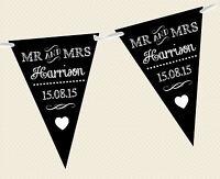 PERSONALISED CHALKBOARD BUNTING - WEDDING MR & MRS ANNIVERSARY BANNER DECORATION