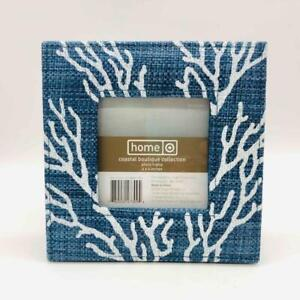 """New Target Home Coastal Boutique 6.5"""" Picture Frame White Coral on Blue Thatch"""