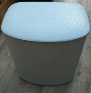 vintage  Art deco old quilted Vinyl pale baby blue  laundry hamper basket rare