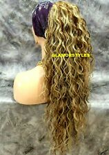 Human Hair Blend Brown Golden Blonde Mix Curly Ponytail Hair Piece Extension NWT