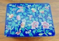 MASTERFUL! Vintage Chinese Floral Cloisonne Trinket Box Enameled Brass Export