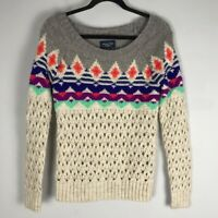 AEO fair isle Nordic open knit chunky sweater pullover size XS womens wool blend