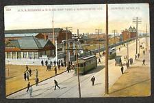 NEWPORT NEWS VIRGINIA N.N.S. BUILDING TROLLEY D.D. SHIP YARD POSTCARD (c. 1910)
