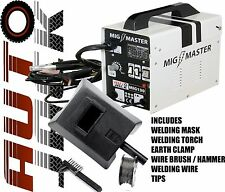 Autojack 130 Amp Mig Welder Gasless No Gas Welding Machine Wire Flux 240v