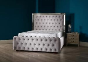 Stylish Modern Design Mirror Chesterfield Bed, Mirror Bed, Bed Frame